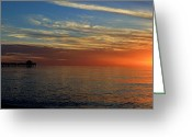 Paradise Pier Attraction Greeting Cards - Setting Sun in Naples Greeting Card by Sean Allen