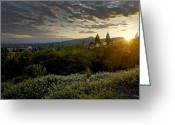 Alto Cumulus Greeting Cards - Setting Sun over Grants Pass Greeting Card by Mick Anderson