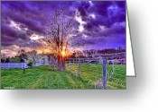 Purple Clouds Greeting Cards - Setting Sun Greeting Card by Stephen Younts