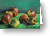 Vermillon Greeting Cards - Seven Apples Greeting Card by EMONA Art
