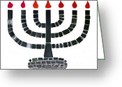 Candles Greeting Cards - Seven-branched Temple Menorah Greeting Card by Christine Till
