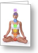Contemplation Greeting Cards - Seven Chakras Greeting Card by Oleksiy Maksymenko