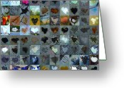 Heart Collage Greeting Cards - Seven Hundred Series Greeting Card by Boy Sees Hearts