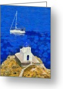 Martyrs Painting Greeting Cards - Seven Martyrs chapel in Sifnos island Greeting Card by George Atsametakis