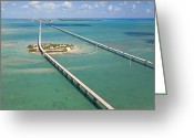 Florida Bridges Greeting Cards - Seven Mile Bridge Crossing Pigeon Key Greeting Card by Mike Theiss