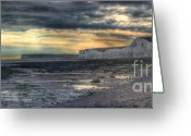Beachy Greeting Cards - Seven Sisters - Panorama Greeting Card by Ann Garrett