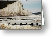 Physical Geography Greeting Cards - Seven Sisters Chalk Cliffs Greeting Card by Peter Funnell