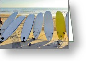 Swell Greeting Cards - Seven Surfboards Greeting Card by Carlos Caetano