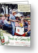 Overalls Greeting Cards - Seven-up Soda Ad, 1954 Greeting Card by Granger