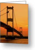 Sunset Photography Greeting Cards - Severn Bridge Sunset Greeting Card by Ian Egner - Egner Photography