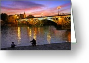 Sunset Greeting Cards - Sevilla Fishing Greeting Card by Skip Hunt