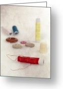 Peaked Greeting Cards - Sewing Supplies Greeting Card by Joana Kruse