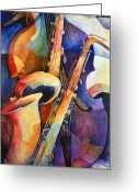 Music Artists Greeting Cards - Sexy Sax Greeting Card by Susanne Clark