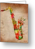 Guitar Greeting Cards - Sexy Saxaphone Greeting Card by Nikki Marie Smith