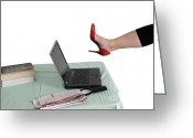 Forceful Greeting Cards - Sexy woman kicks a laptop  Greeting Card by Ilan Rosen