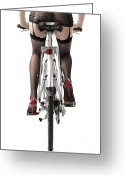 One Person Photo Greeting Cards - Sexy Woman Riding a Bike Greeting Card by Oleksiy Maksymenko