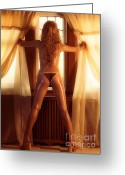 Sun Tan Greeting Cards - Sexy Woman Standing at a Window Greeting Card by Oleksiy Maksymenko