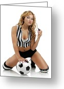 Referee Greeting Cards - Sexy Young Woman with a Soccer Ball Greeting Card by Oleksiy Maksymenko