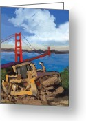 Golden Gate Painting Greeting Cards - SF and D9 Greeting Card by Brad Burns