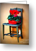Vintage Chair Greeting Cards - Shabby Chair Greeting Card by Perry Webster
