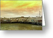 "\""small House\\\"" Greeting Cards - Shacks Greeting Card by Charuhas Images"