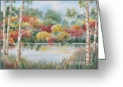 Deb Ronglien Watercolor Greeting Cards - Shades of Autumn Greeting Card by Deborah Ronglien