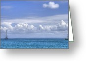 Cumulus Greeting Cards - Shades of Blue Greeting Card by Sophie De Roumanie