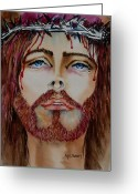 Jesus Painting Greeting Cards - Shades of Jesus Greeting Card by Maria Barry