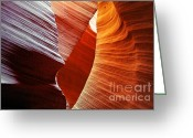 Canyon Walls Greeting Cards - Shades of red - Antelope Canyon AZ Greeting Card by Christine Till