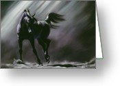 Horses Pastels Greeting Cards - Shadow Dancer Greeting Card by Kim McElroy