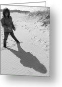Me And My Shadow Greeting Cards - Shadow Girl Greeting Card by Lori Lafargue