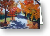 Autumn Landscape Pastels Greeting Cards - Shadows Fall Greeting Card by Marion Derrett