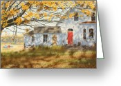 Egg Tempera Painting Greeting Cards - Shadows in Autumn Greeting Card by Conrad Mieschke
