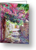 Bougainvillea Greeting Cards - Shady Lane Greece Greeting Card by David Lloyd Glover
