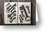 Pages Greeting Cards - Shakspeare King Lear and old keys Greeting Card by Garry Gay