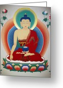 Thanka Greeting Cards - Shakyamuni Buddha  Greeting Card by Sergey Noskov
