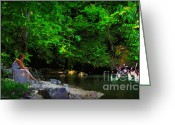 Pray Digital Art Greeting Cards - Shall We Gather At the River Greeting Card by Lianne Schneider