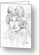 Fortune Teller Drawings Greeting Cards - Shaman Greeting Card by Christine Winters
