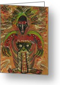 Cry Mixed Media Greeting Cards - Shaman Says Walk Softly and Carry a Big Schtik Greeting Card by Anne-Elizabeth Whiteway