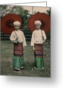 Ethnic Greeting Cards - Shan Women Wearing Traditional Colorful Greeting Card by W. Robert Moore