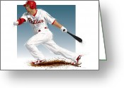Hit Digital Art Greeting Cards - Shane Victorino Greeting Card by Scott Weigner