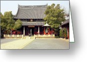 Devotion Greeting Cards - Shanghai Confucius Temple - Wen Miao - Main Temple Building Greeting Card by Christine Till