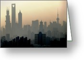 Communications Tower Greeting Cards - Shanghai Skyline Three Towers And Perl Tower Greeting Card by Douglas von Roy