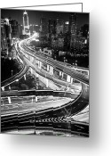 Marking Photo Greeting Cards - Shanghai, Yanan East Interchange Greeting Card by Yves ANDRE