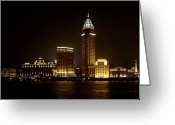 Nightshot Greeting Cards - Shanghais Bund is back to its best Greeting Card by Christine Till