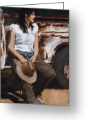 Old Trucks  Greeting Cards - Shanti Waiting Greeting Card by Jack Atkins