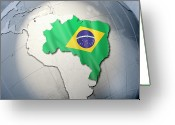 Politics Greeting Cards - Shape And Ensign Of Brazil On A Globe Greeting Card by Dieter Spannknebel