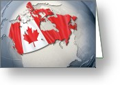 Politics Greeting Cards - Shape And Ensign Of Canada On A Globe Greeting Card by Dieter Spannknebel