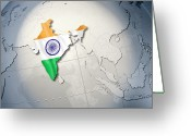 Politics Greeting Cards - Shape And Ensign Of India On A Globe Greeting Card by Dieter Spannknebel