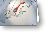 Norwegian Greeting Cards - Shape And Ensign Of Norway On A Globe Greeting Card by Dieter Spannknebel
